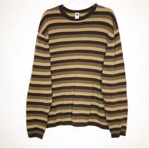 Gap | XXL | Men's Brown Striped Crew Neck Pullover
